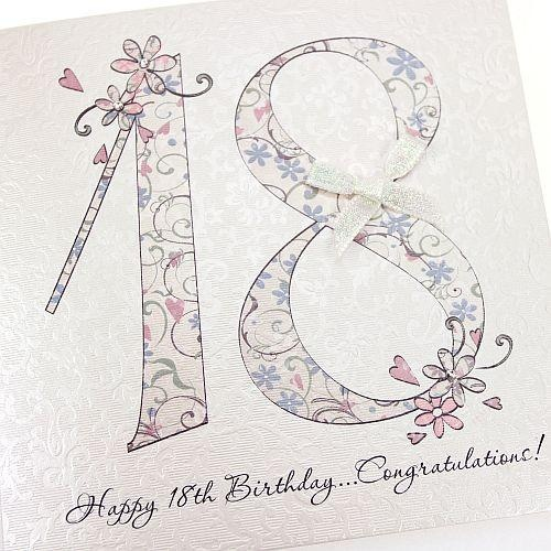 Handmade 18th Birthday Card Beautiful Floral Chic