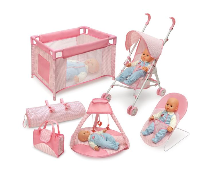 Awesome Amazon.com: Badger Basket Five Item Doll Furniture And Accessory Set  Pink/