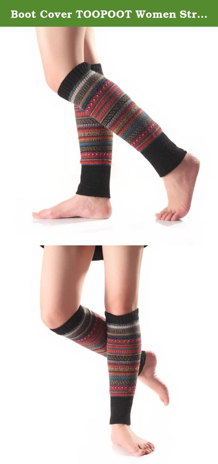 Boot Cover TOOPOOT Women Stripe Stocking Leg Warmer Socks (black). ★★ Care: Hand wash cold and lay flat to dry Soft and comfortable ★★ We love them with rain or ankle-length boots. ★★if you are women, you could buy it for yourself, your monter, your daugther, and so on, if you are men, you could buy it for your wife, your mother, your gir friends, your duagher, and so son, They will love it, Package: 1 Pair Women Knitted Stocking Leg Plush Cover Button Trim Socks.