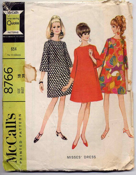 Vintage 1960's Mod McCall's 8766 Trapeze by MaddieModPatterns