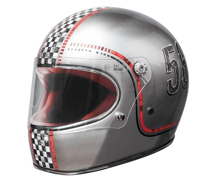 "PREMIER ""Trophy FL Chromed"" motorcycle helmet with retro styling and ECE standard."