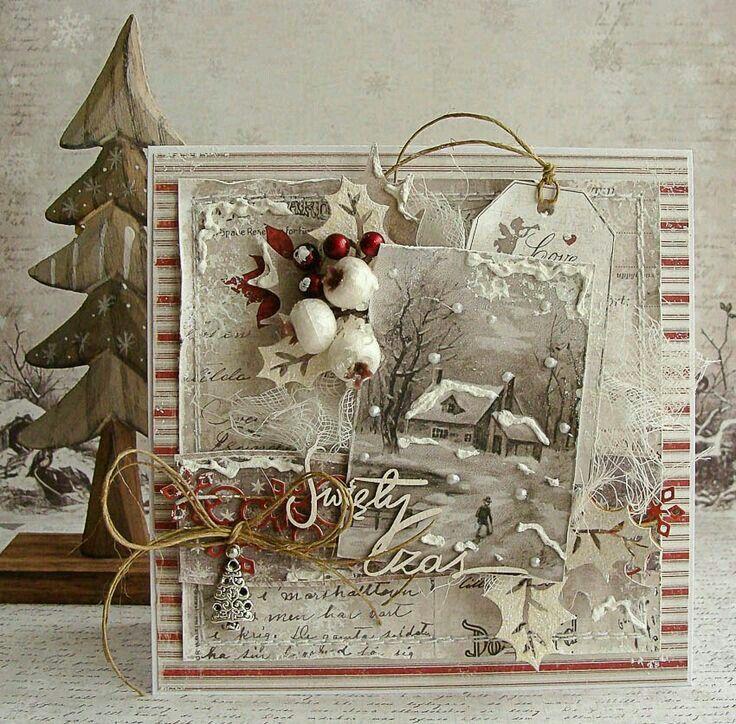 Открытки сложной формы для нового года в винтажном стиле, открытки открытка ручной