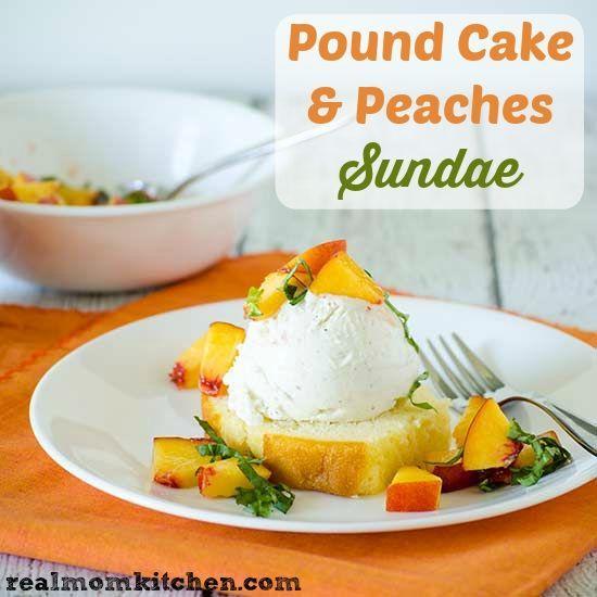 Pound Cake & Peaches Sundae using @Breyers ice cream | realmomkitchen.com #ad