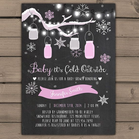 ♥ A winter theme baby shower invite, handdrawn! You will receive a ready-to-print file!  You can just print your file in any local print shop