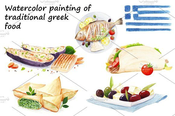 Traditional greek food by Nicolai-works on @creativemarket