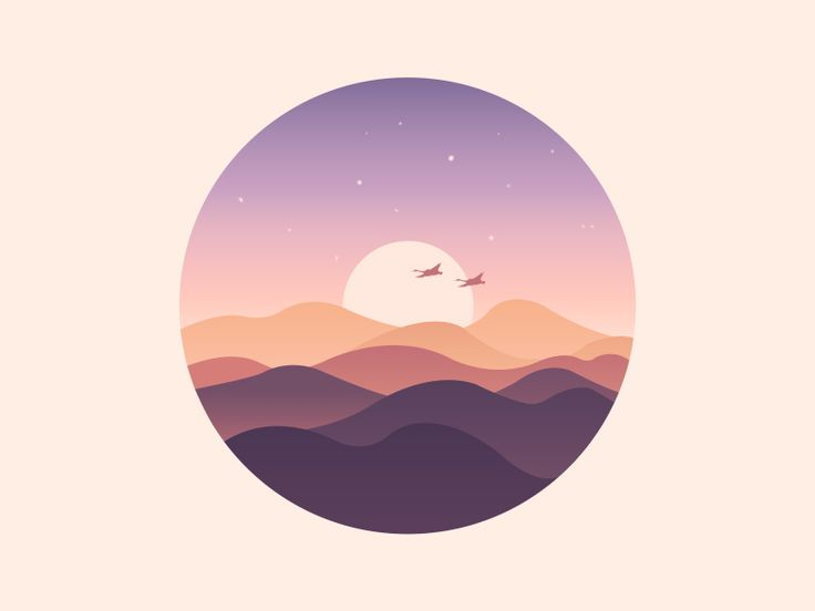 Scenery series icon - 《The rosy clouds》  Minimalist flat illustration