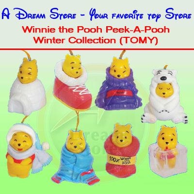 Detail Picture for FULL SET OF 8PC WINNIE THE POOH Peek-A-Pooh WINTER COLLECTION ITALY VERSION