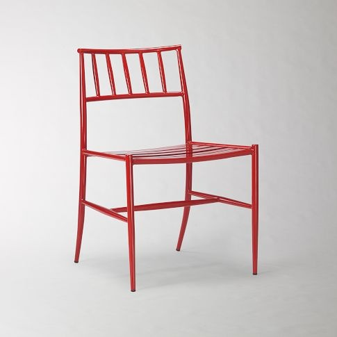 west elm spindle back side chair in tomato