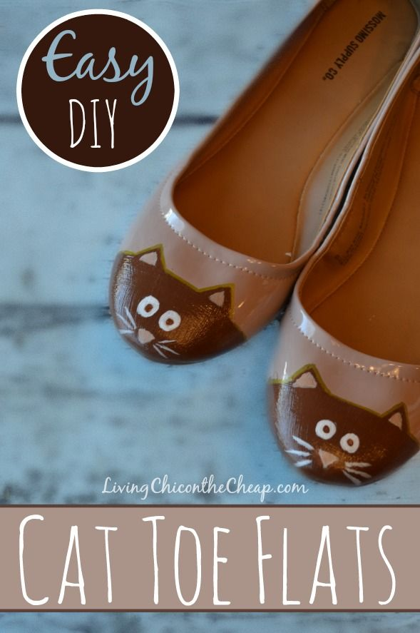 **Cat Toe Flats** Here is a fun and easy DIY- Make Your Own Cat Toe Flats. This is a fun project for a cat lover. This is also great for a kids shoe. You can also apply the same concept and make a cap toe flat instead of a cat toe flat. You would of course just want to forgo the ears and face. These are WAY less expensive than those Cat Toe Shoes you may have spotted at the boutique! #DIY #Cat #Fashion