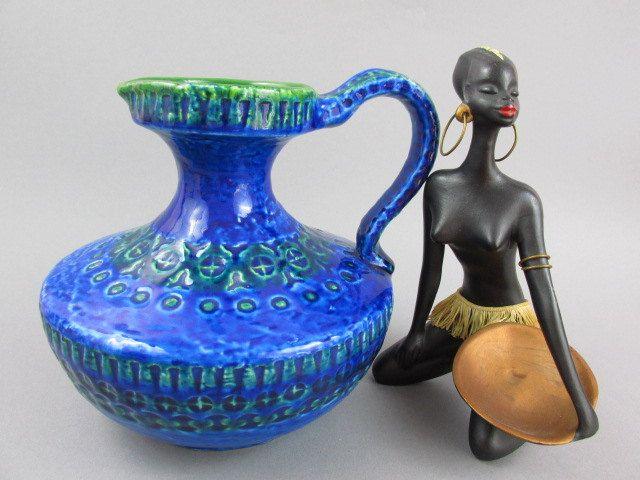 Italienische Keramik Vase - Ars Italica - ähnlich Rimini Aldo Londi für Bitossi  - blau grün - Krug 60er von ShabbRockRepublic auf Etsy