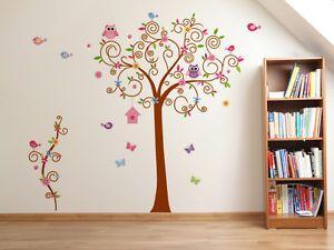 Elegant Wandtattoo Eule Baum Wandsticker Aufkleber Kinderzimmer Deko Cartoon Blume V gel