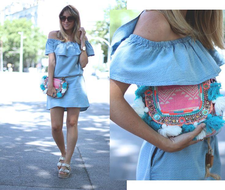 Tendencias verano 2016 blog de moda: off shoulder. Vestido con hombros descubiertos por la bloguera de moda Mónica Sors
