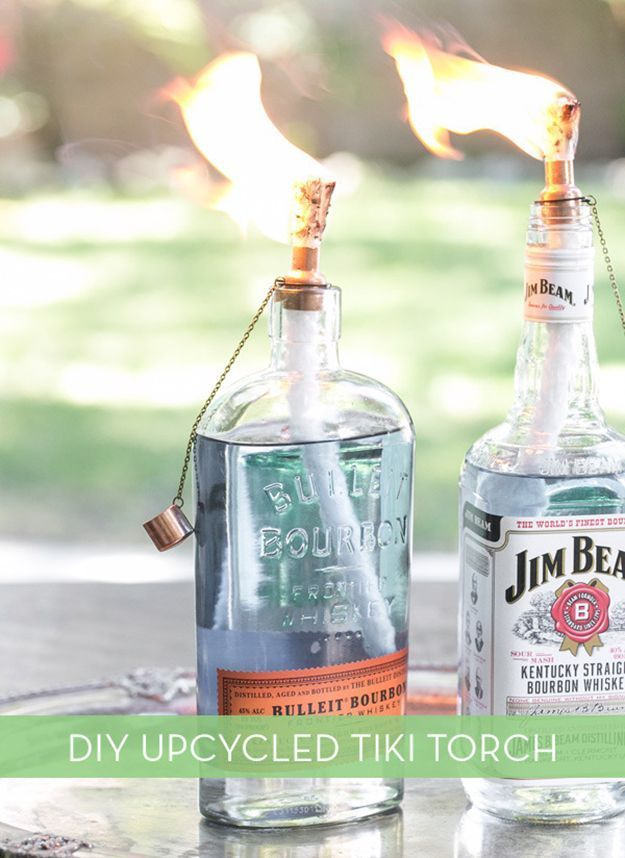 The party might be over. But not for the empty bottles. Handmade tiki torches.