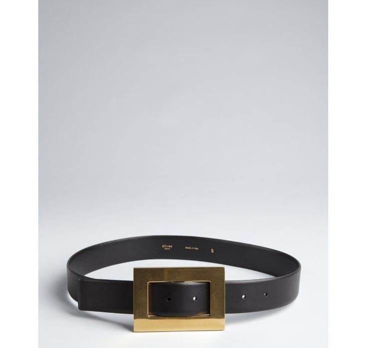 Celine black leather and large gold buckle belt