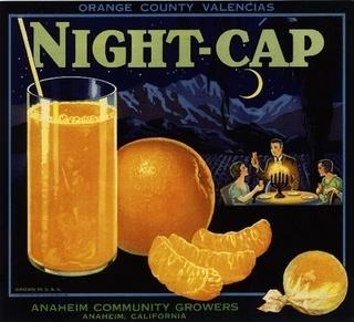 Anaheim Night-Cap Moon Orange Crate Label