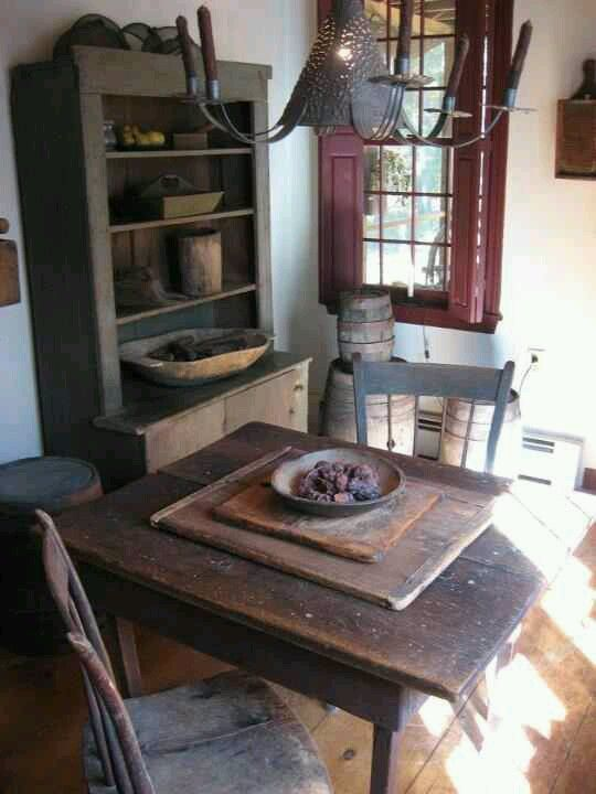rustic kitchen table chairs and cupboard - Primitive Kitchen Tables
