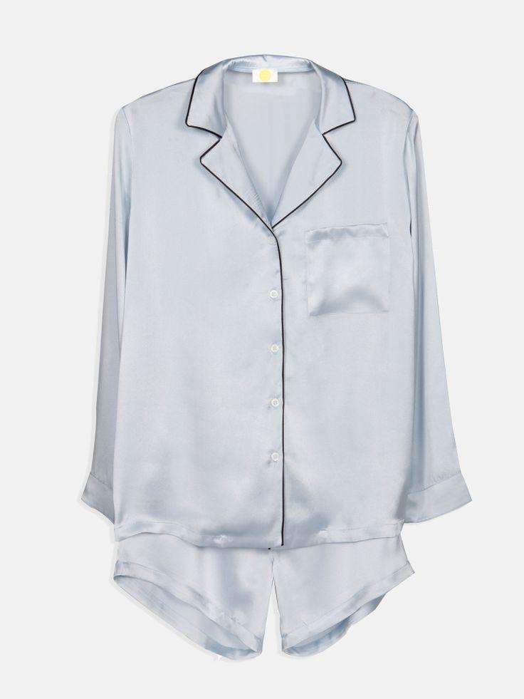 YOLKE | Powder Blue Silk Pyjamas