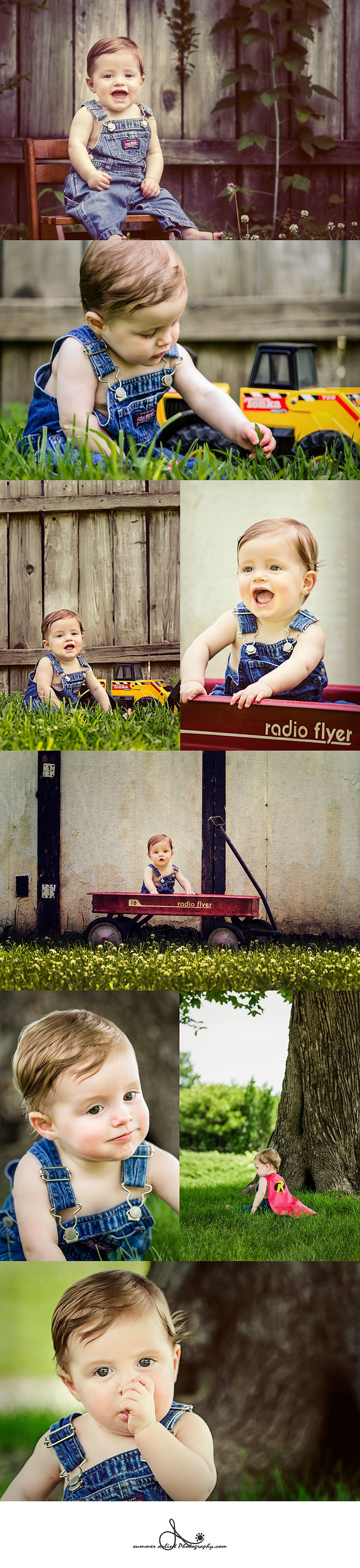 9 month old boy pictures. Little baby boy photo shoot. Tonka Trucks and Radio Flyer wagons. Photographs taken in Blue Springs, MO by Summer Arlint Photography.