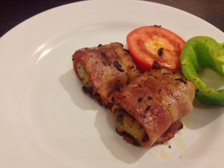 Fillet of Basa in Lime and Pepper wrapped in Oak-Smoked Bacon.
