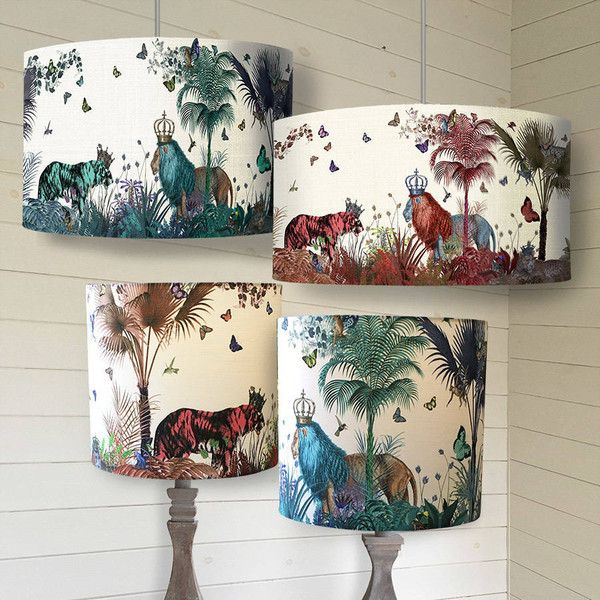 FabFunky Home Decor Tropical Lions Lampshade (1 900 ZAR) ❤ liked on Polyvore featuring home, lighting, tropical lamps and tropical lighting