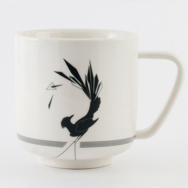 Gullfuglen (The Golden Bird) porcelain collection, grey. Cup, plate, bowl and vase.