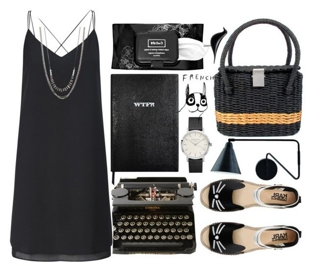 Untitled #159 by jasminekt on Polyvore featuring Miss Selfridge, Karl Lagerfeld, Chanel, Simply Vera, Kat Von D, Sloane Stationery, WALL, Vitra, House by John Lewis and black