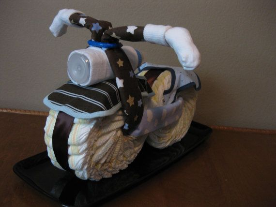 Diaper Motorcycle  Baby Shower Gift by 2CuteDesignsLS on Etsy, $40.00