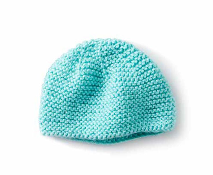 Mini Garter Stitch Knit Cap FREE knitting pattern in Caron Simply Soft - get the Downloabale PDFat Loveknitting.