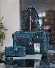 WESTERN MONTANA WEST EMBROIDERY TURQUOISE CONCHO COWGIRL SHOULDER HANDBAG+WALLET