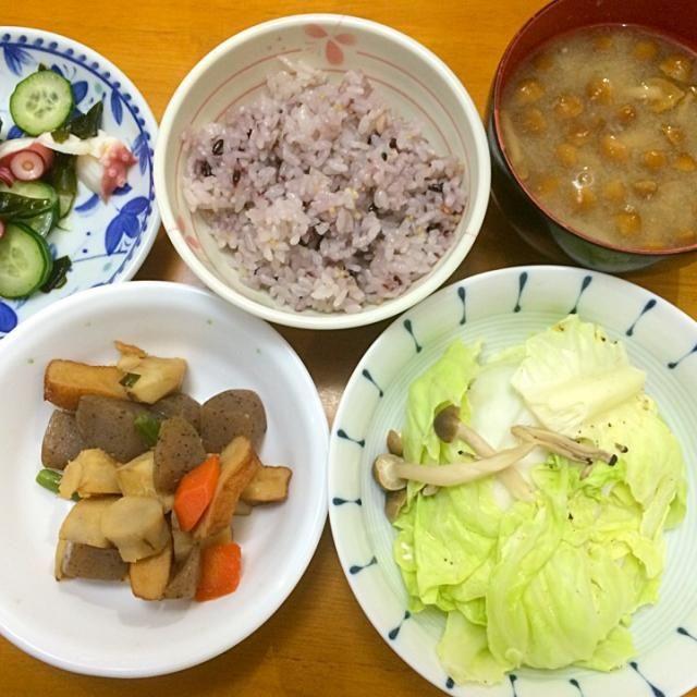 ハンペン蒸し*煮物*たこの酢の物*なめこ汁*雑穀米 - 8件のもぐもぐ - 夕ご飯 by karintou2525