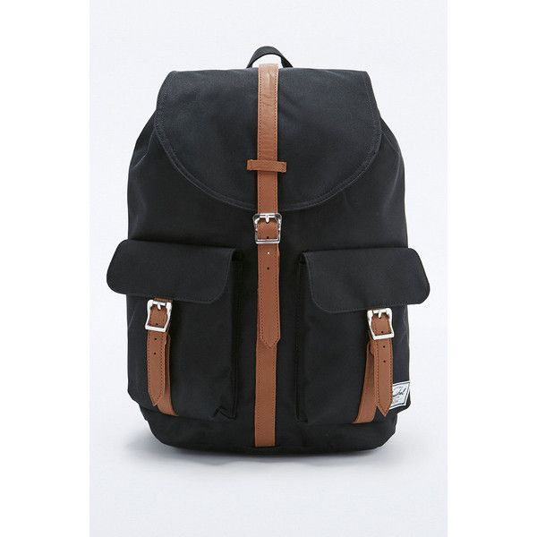 Herschel Supply co. Dawson Black Backpack found on Polyvore featuring polyvore, women's fashion, bags, backpacks, black, drawstring bag, drawstring backpack bag, foldable backpack, foldable bag and backpack bags