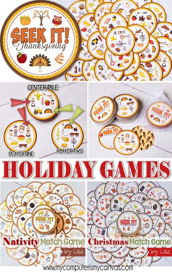 PRINTABLE Games for the Holidays - great for Family Game Night, Classroom Parties or any group event! Thanksgiving, Halloween, Christmas and Nativity #mycomputerismycanvas