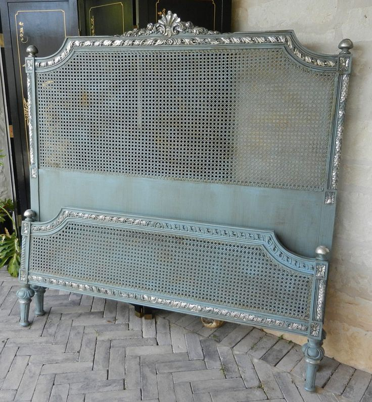 Antique blue Headboard: Hello, Lovely.  (Great link to amazing furniture pieces.)