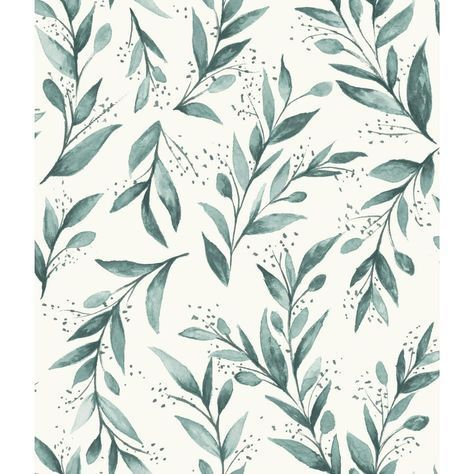 Magnolia Home by Joanna Gaines 56 sq.ft. Olive Branch Wallpaper, Weekends (Teal)