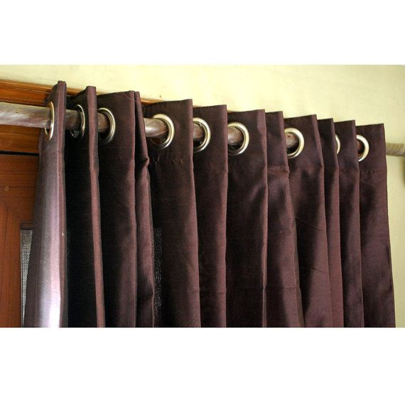 Pair of Deep Plum Silk Curtain Panels 26″x96″ Grommet Drapes Home And Living Bedroom Decor And Housewares Valance Window Treatments