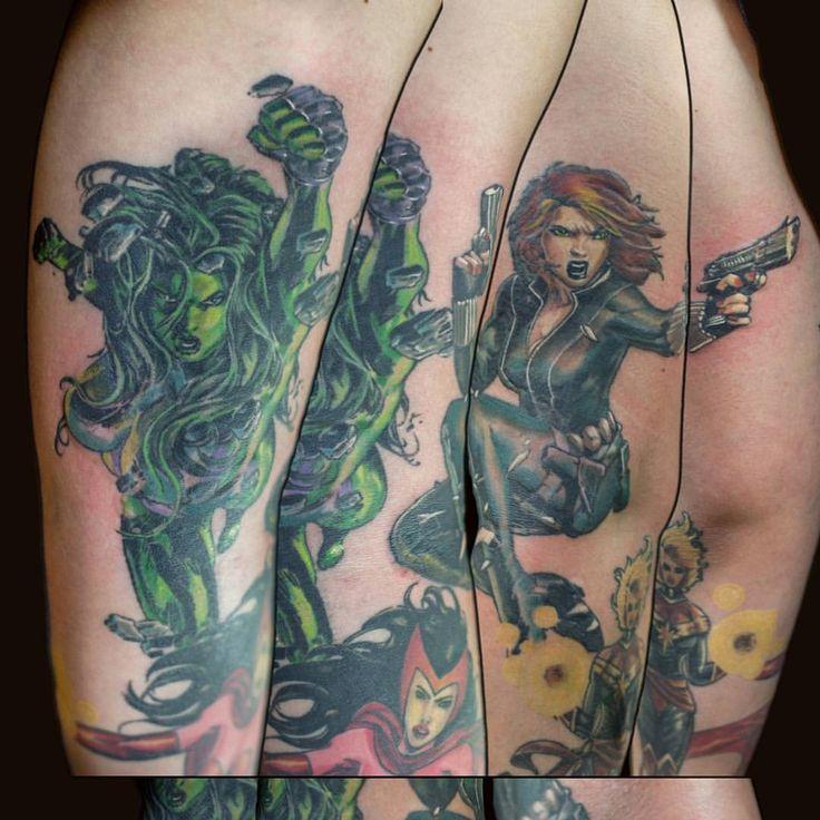 #marvel #marvelcomics #marvelcomicstattoo #msmarveltattoo #shehulktattoo #blackwidowtattoo #scarletwitchtattoo #tattoo #tattoos #seattle #seattletattoo #nickharttattoo #fkiron #spektraegdex #eternalink #seattletattooartists (at Nick Hart Tattoo)