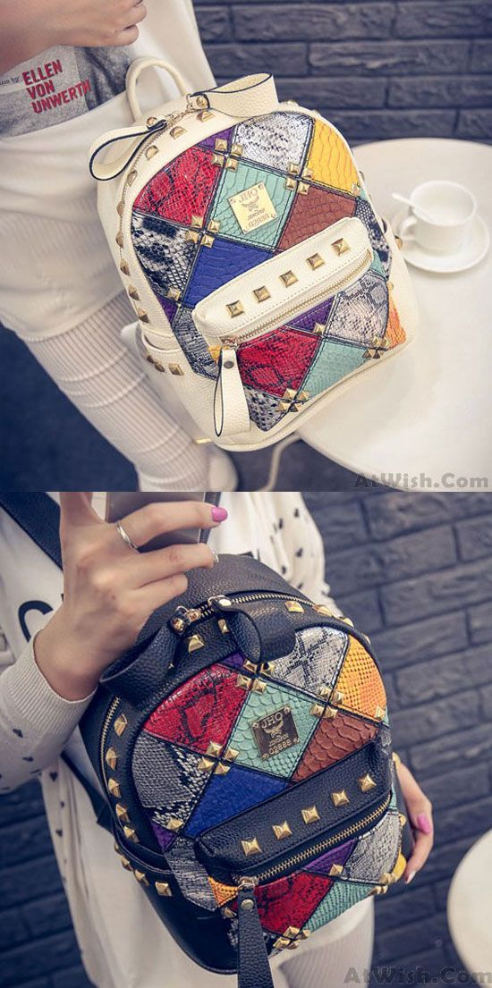 So cute backpack ! Fashion Mini Rivet Contrast School Rucksack Stitching Colorful Lady Backpack #rivet #stitching #british #backpack #bag #Pockets #student #rucksack #college #fashion #lady