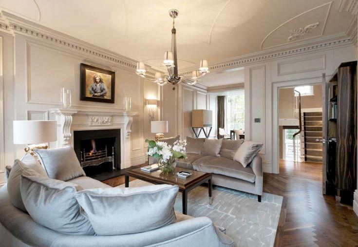 Роскошный дизайн интерьера гостиной с камином