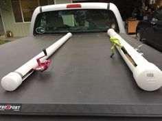 Pvc fishing rod holders. Just used pvc pipe with end caps. And cut slits for the reels.