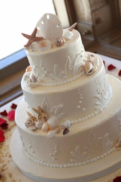 "Beach Wedding Cake or other special ""beach"" occasion. No instructions or recipes - but if want to give your baker a photo of your dream cake - great pics on this site. http://www.weddingomania.com/61-dreamy-beach-wedding-cakes/"