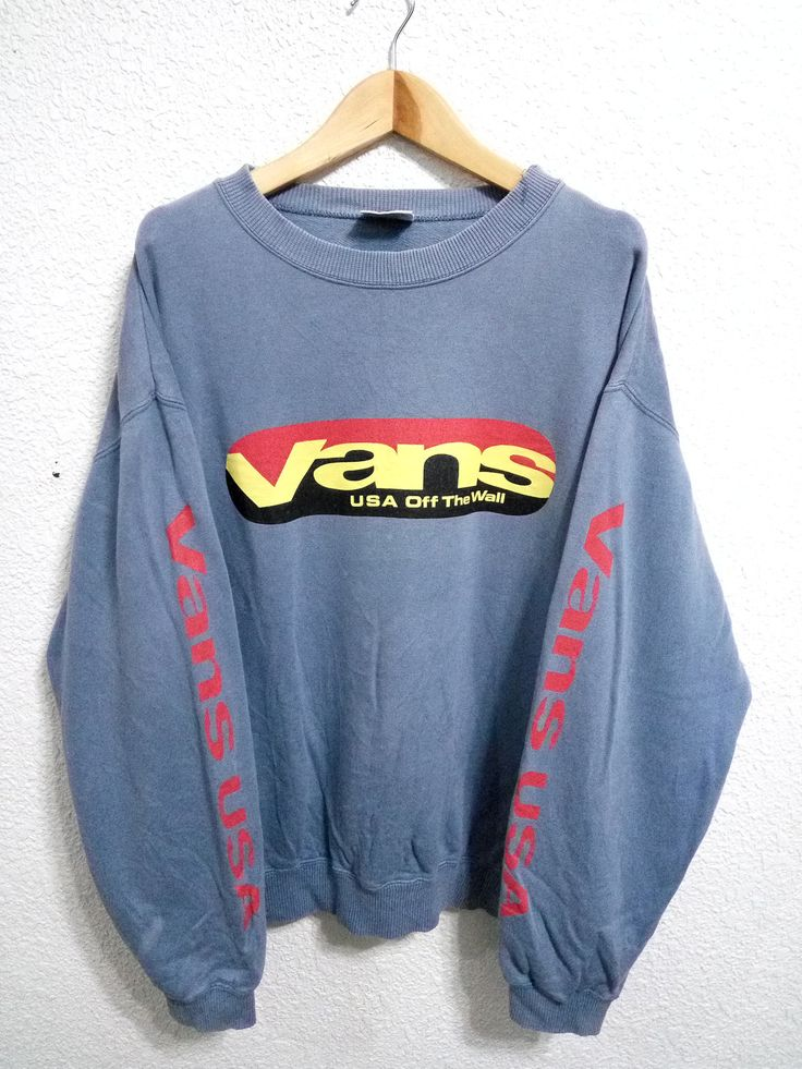 Sale Vintage Vans USA Of The Wall Sweatshirt Blue Colour Large Size by GoShopVintageStore on Etsy
