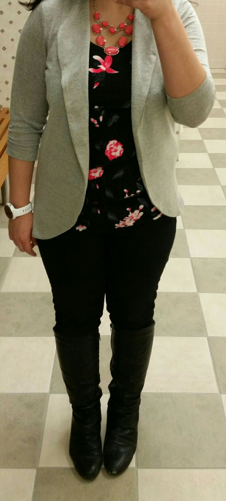 Coral black floral top, coral statement necklace, grey cardigan,  black boots #loverickis