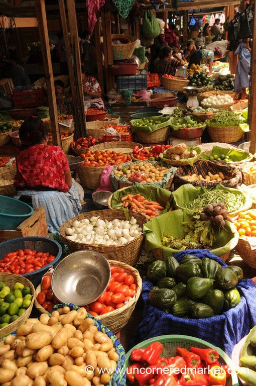 Every turn we took in the main market in Antigua, Guatemala took us deeper into a labyrinth of vegetable, fruit and spice stalls.   Read more about our first impressions of Guatemala.  © www.uncorneredmarket.com