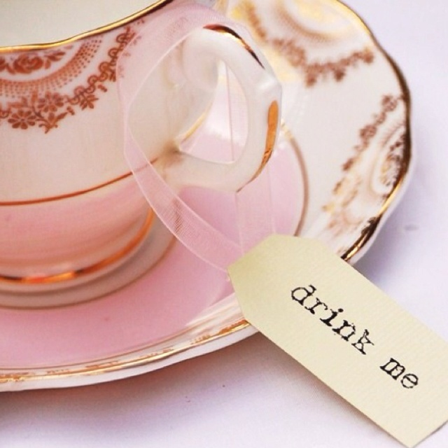 I'd have these little labels around all the tea cups that are on the table