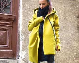 NEW  Warm Quilted Winter Asymmetric Extravagant Mustard Hooded Coat/ Wool/Cashmere Blend/ Double Zipper/Large Pocket Coat by AAKASHA A07337
