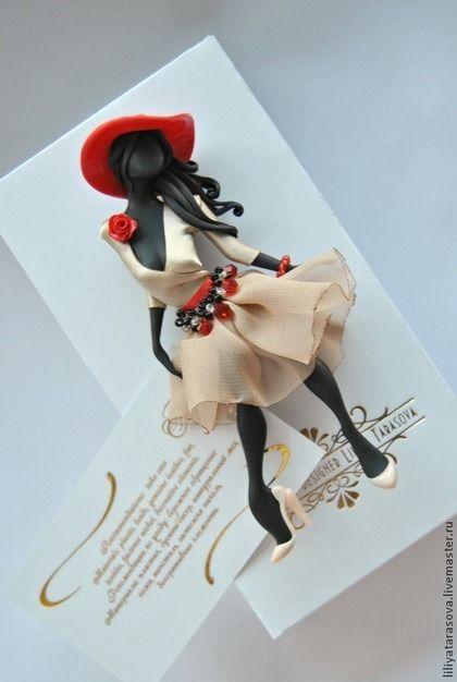 """Купить брошь """"Стефани"""" - ярко-красный, подарок девушке, подарок женщине, модный аксессуар"""