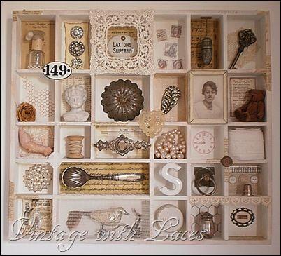Studio Tour 2012 - - Druckerfach mit Vintage-Schätzen gefüllt Jahrgang mit Schnürsenkel