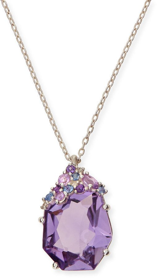 Alexis Bittar Fine Velvet Marquise Small Amethyst Pendant Necklace