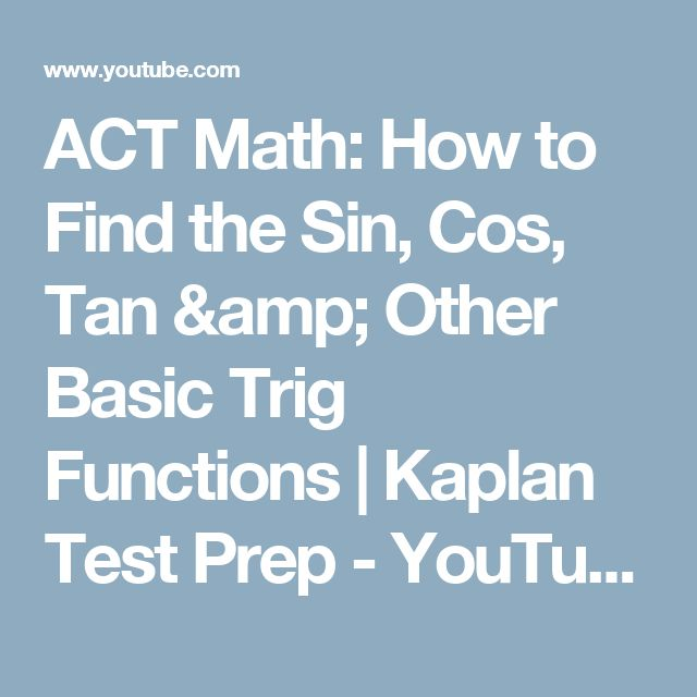 18 best act math images on pinterest act math act prep and calculus kaplan act math teacher and online act tutor arthur provides a helpful lesson and tutorial on how to get more points on the math section of the act using fandeluxe Images