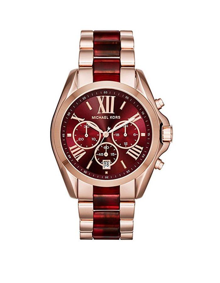 a5f14d86c2fd2 New Michael Kors Bradshaw Rose Gold Red Chronograph MK6270 Women Watch